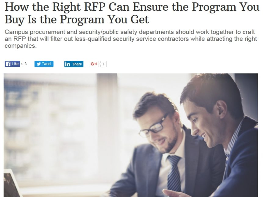 Campus Safety article about RFPs