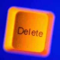 Yellow Delete Key on Blue
