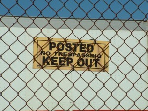 posted no trespassing keep out sign