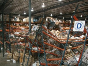 warehouse with collapsed racks