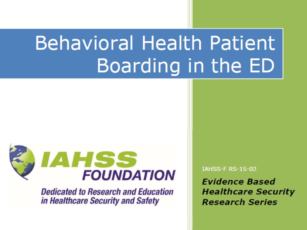Behavioral Health Patient Boarding in the ED
