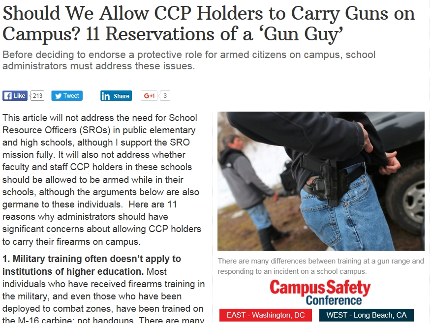 Campus Safety article about guns on campus