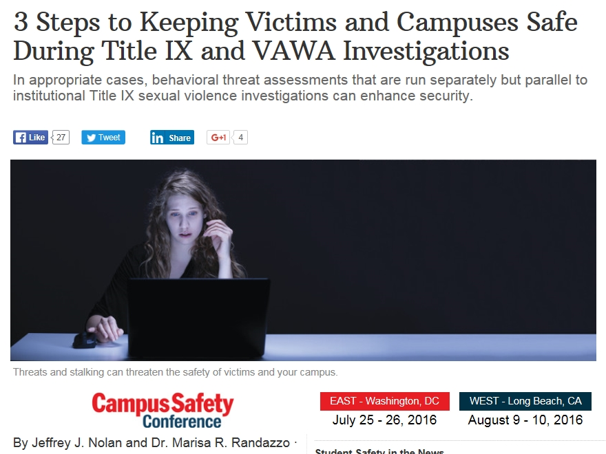 Campus Safety article on safety during investigations
