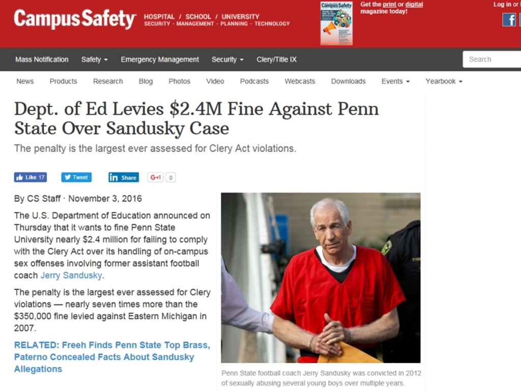 Campus Safety article about Penn State fine