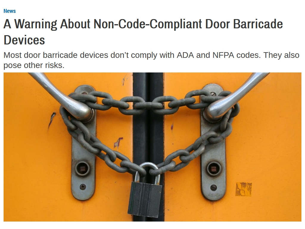 article on door barricade devices
